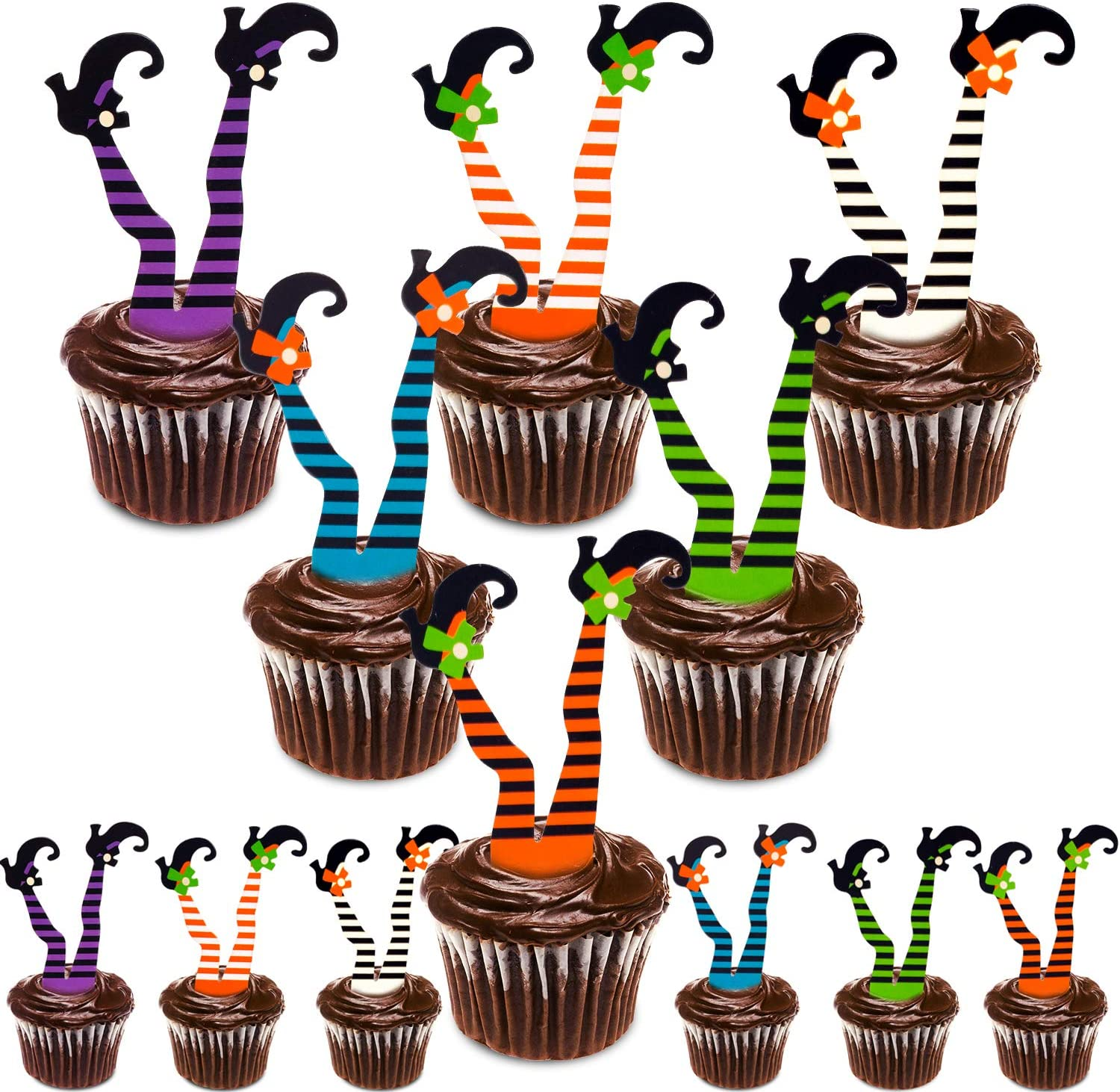 Whaline Halloween Cupcake Toppers Witch Boot Paper Cupcake Decorations for Cupcake Dish Decoration Party Supplies 30 Pack
