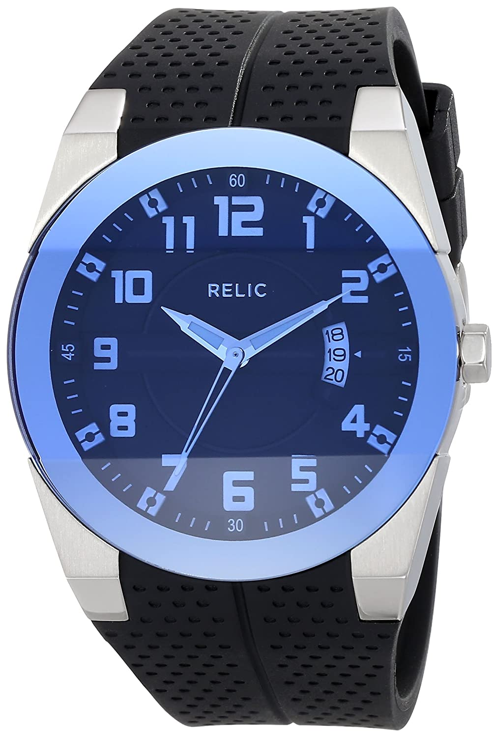 Relic by Fossil Men's Jake Quartz Stainless Steel and Silicone Sport Watch, Color: Silver, Black (Model: ZR11861)