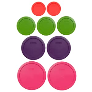Pyrex (2) 7402-PC 6/7 Cup Fuchsia (2) 7201-PC 4 Cup Purple (3) 7200-PC 2 Cup Lawn Green (2) 7202-PC 1 Cup Red Replacement Food Storage Lids