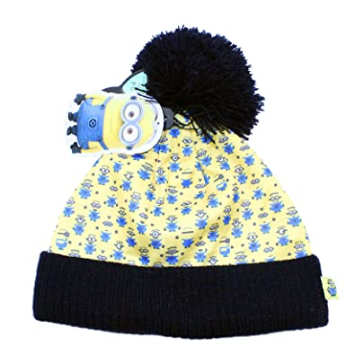 de5f4c54357bef Boys Despicable Me All Over Pattern Minion Winter Beanie Bobble Hat.  Multicoloured: Amazon.co.uk: Clothing