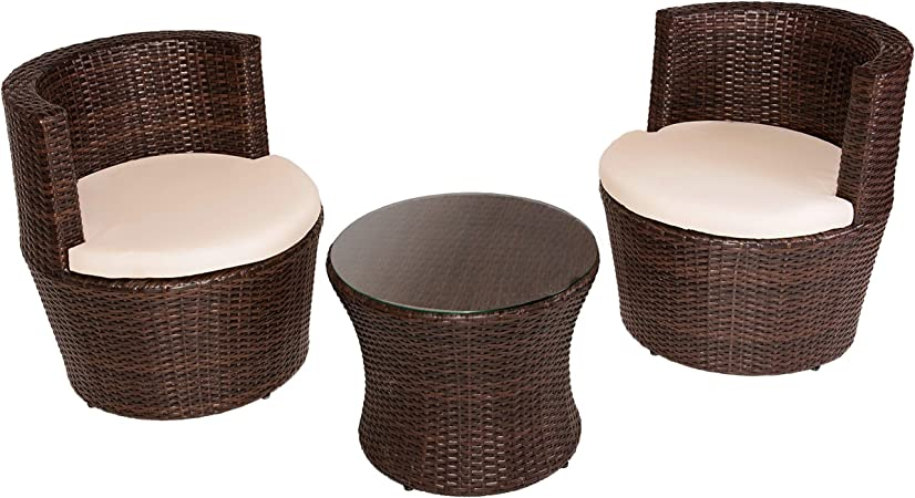DISTRIGAL.SL HomeSouth - Conjunto de Mesa Baja Redonda y Dos sillas de jardín, Mesa de Centro Fija, Mueble de Exterior, Modelo Argentina, Medidas Mesa: 50 cm (diámetro) x 41, 5 cm (Alto):