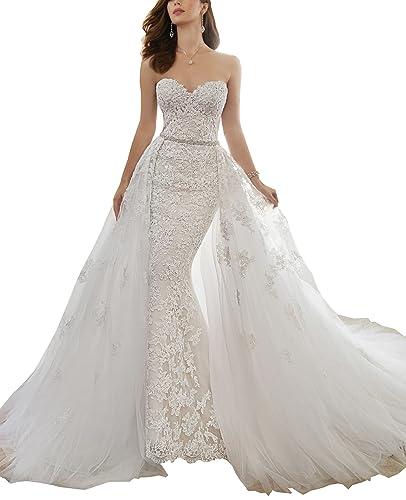 Nicefashion Rhinestones Lace Mermaid Detachable Train Corset Wedding Dress