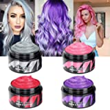 4 Colors Temporary Hair Wax Dye - 4 in 1 Hair Wax Color Sliver Gray Red Purple Pink Temporary Hair Dye Instant Natural…