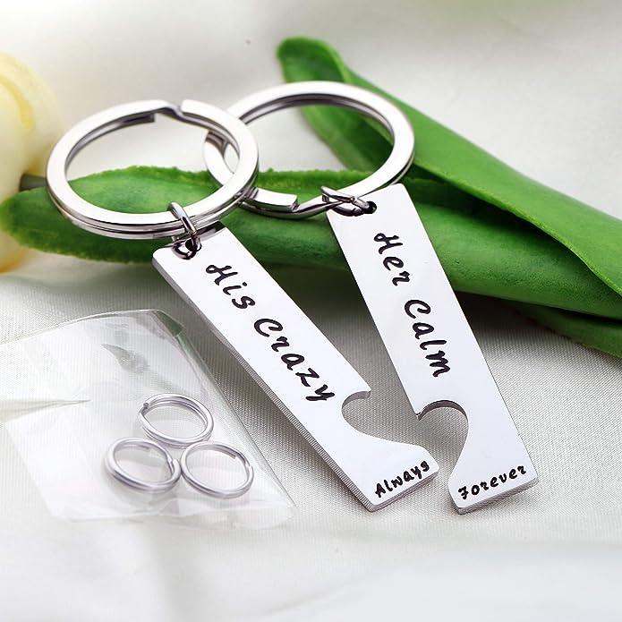 Amazon.com: AKTAP - Juego de llaveros para parejas con texto ...