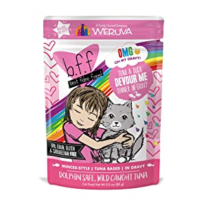 Weruva B.F.F. OMG - Best Feline Friend Oh My Gravy! Grain-Free Natural Wet Cat Food Pouches, Original Tuna Recipes in Gravy