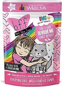 Amazon Com B F F Omg Best Feline Friend Oh My Gravy Tuna Duck Devour Me With Tuna Duck In Gravy Cat Food By Weruva 3oz Pouch Pack Of 12