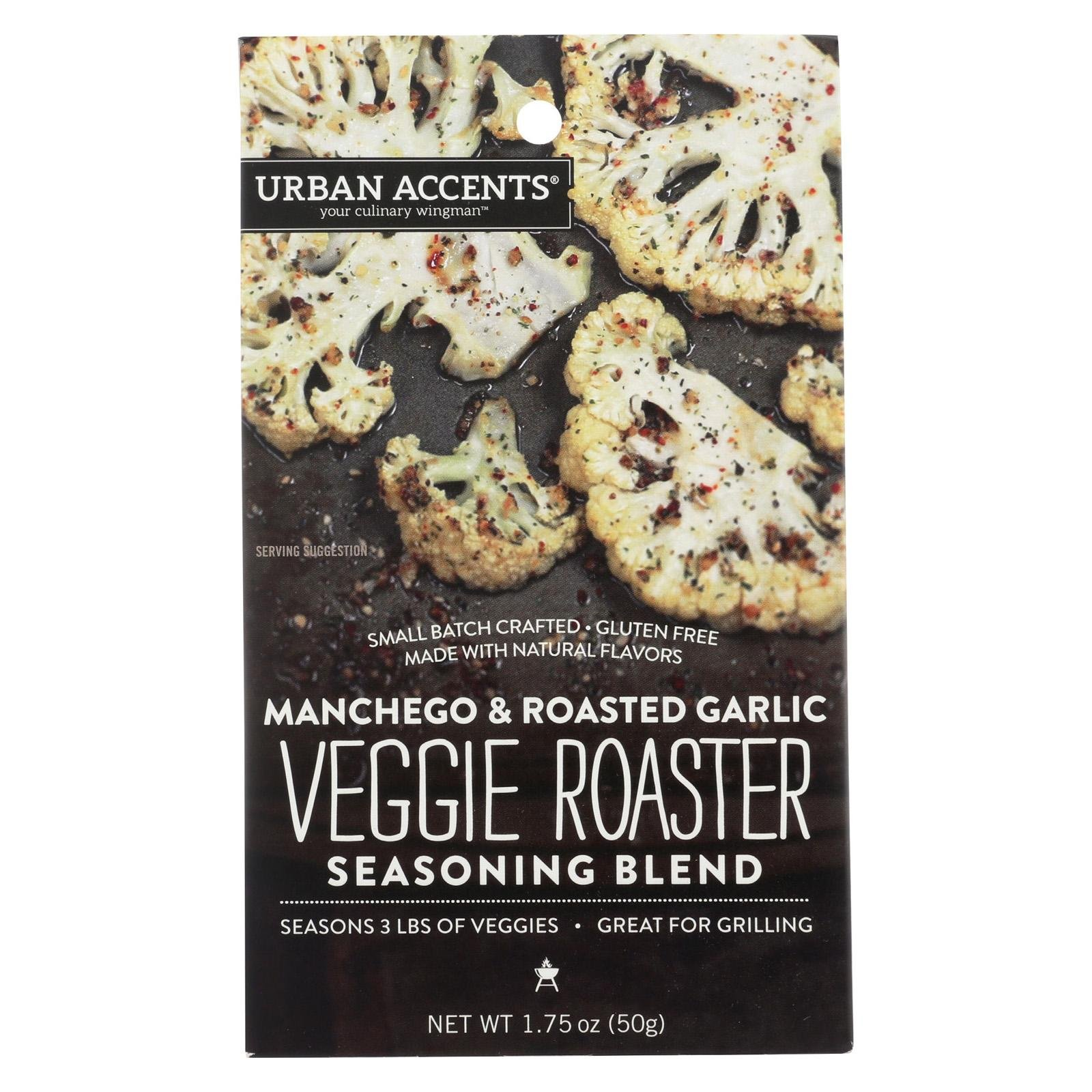 Urban Accents Your Culinary Wingman Manchego Roasted Garlic Veggie Roaster Seasoning Blend, 1.75 Ounce - 6 per case.