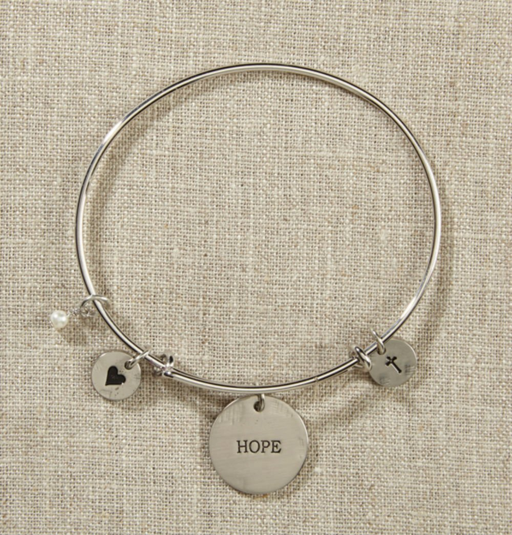 Set of 4 Grateful Heart Silver Bangle with Hope, Cross, Heart by AT001
