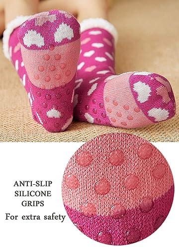 Mujer Calcetines Tipo Pantuflas Con Suela ABS Antideslizante, Invierno Zapatillas Calcetines Térmicos Acogedores y Suaves, Calcetines de Navidad ...