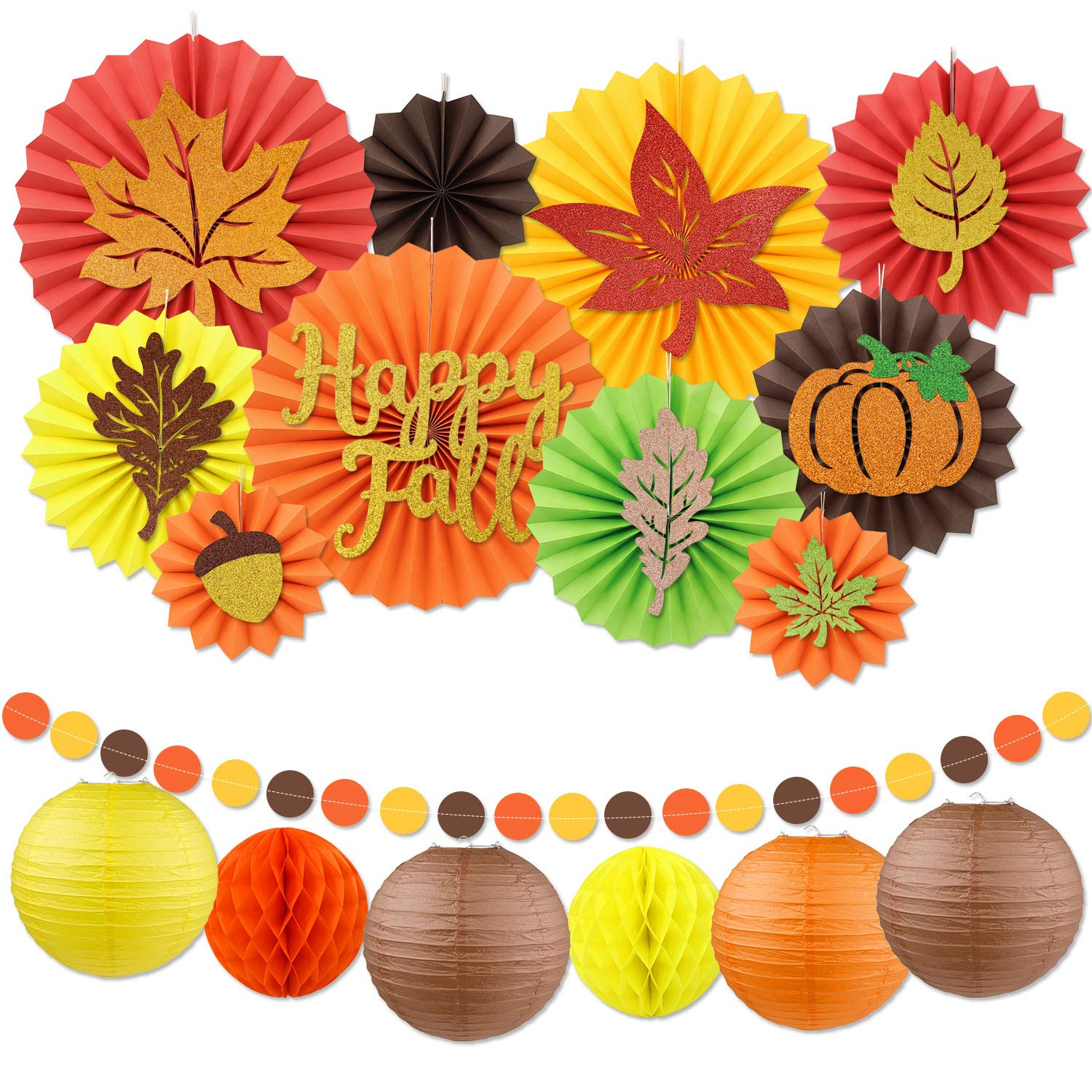 Fall Party Decoration Set Festival Thanksgiving Party Supplies Maple Leaves Pumpkin Hanging Paper Fans Lanterns Dots Garland for Birthday Parties Wedding Decor Autumn Harvest Time Home Decor by Distaratie