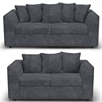 B U The sofa expert Grey Fabric Jumbo Cord Sofa Settee Couch 3+2 Seater