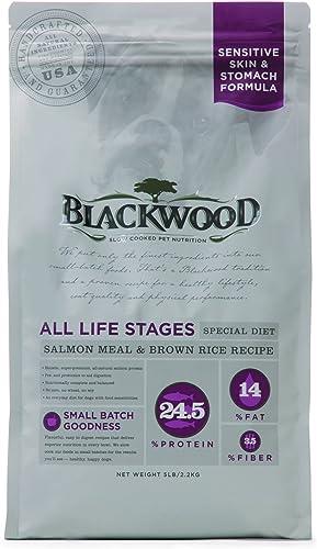 Blackwood Pet Food 075492054442 Salmon Meal Recipe Sensitive Skin Stomach Formula Dry Dog Food, 5Lbs