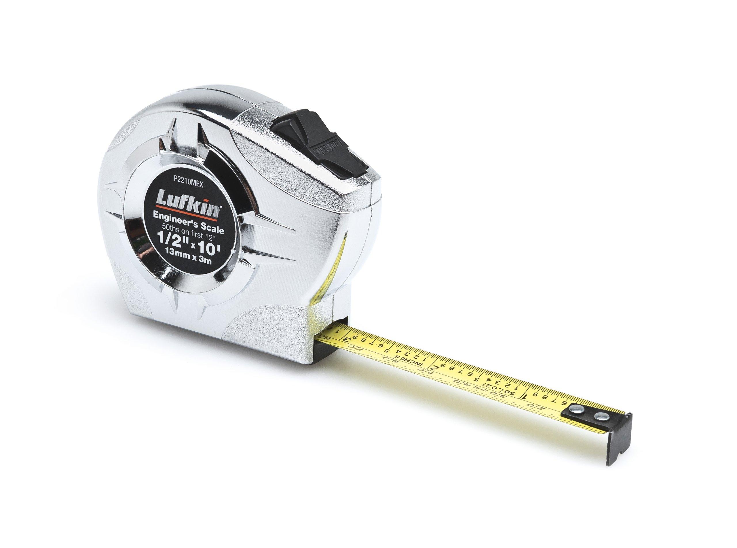 Lufkin P2210MEX 1/2-Inch by 10-Feet P2000 Series Power Return Engineer's Tape Measure, Chrome