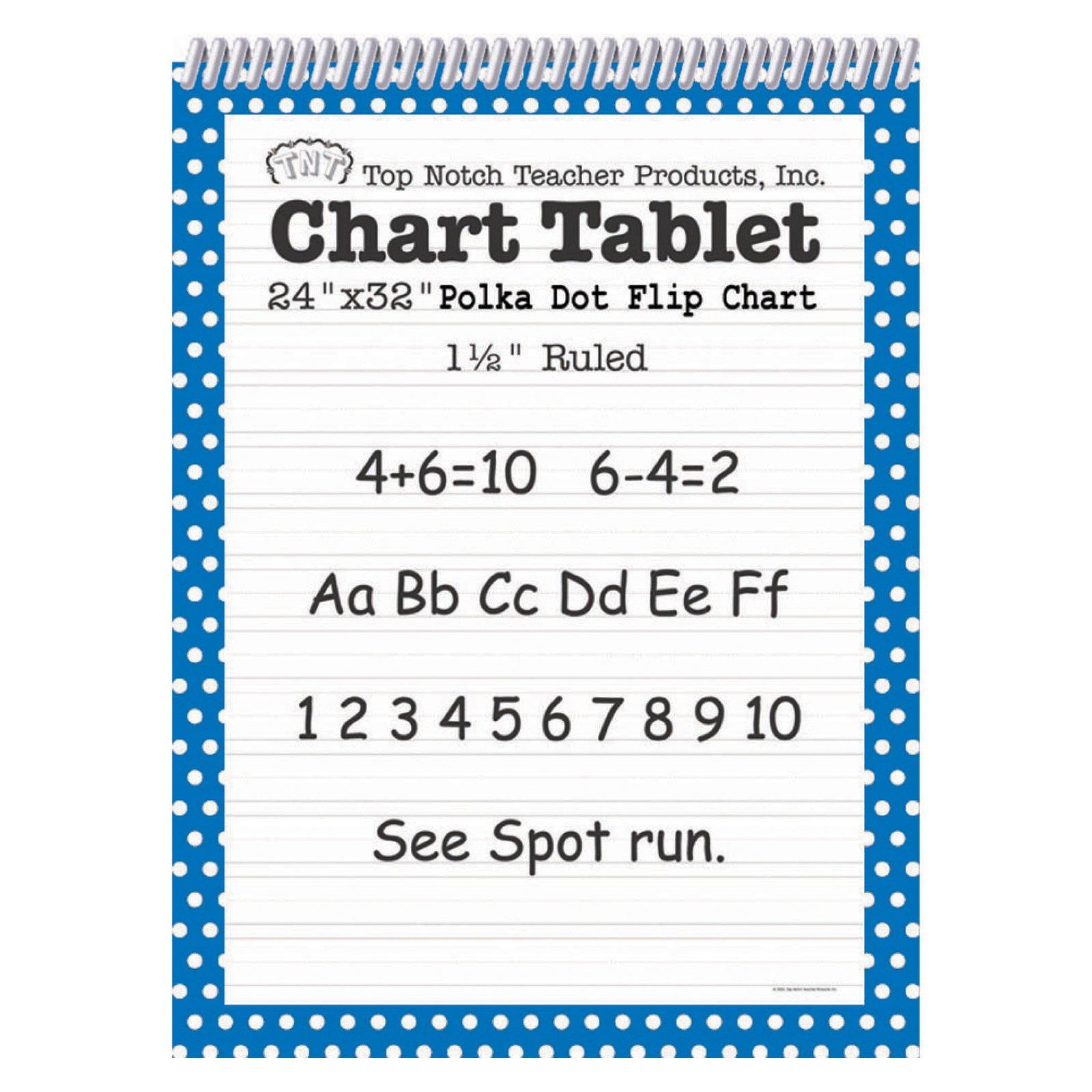 Top Notch Teacher Products Chart Tablet Polka Dot (1 1/2'' Ruled), Blue, 24'' x 32''