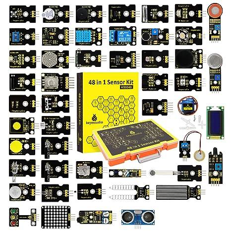 KEYESTUDIO 48 in 1 Sensor kit for arduino Projects with LCD, 5v Relay, IR  Receiver, Line Tracking, Traffic Light, 9G Servo Motor Module, PIR, Reed
