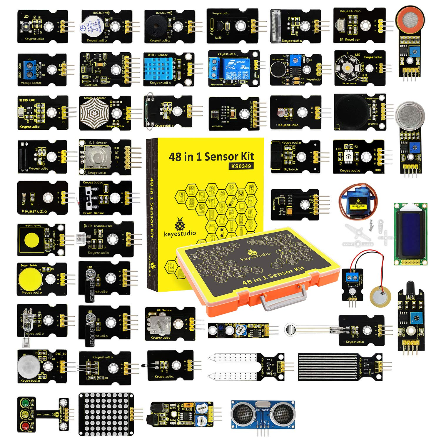 KEYESTUDIO 48 in 1 Sensor kit for arduino Projects with LCD, 5v Relay, IR Receiver, Line Tracking, Traffic Light, 9G Servo Motor Module, PIR, Reed Switch, Flame, Ultrasonic Sensor, etc