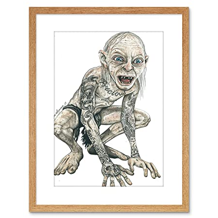 Wee Blue Coo Gollum Lord of Rings Tattoo Inked IKON Framed ...