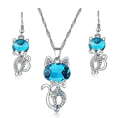 Majesto Juego de Joyas - Conjunto Colgante de Collar y Pendientes Gato Azul Cristal para Mujer Adolescente niña pequeña mamá - Accesorio de joyería de ...