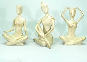 dogalmasacom Yoga Sculptures Set, Bookshelf Decor for Meditation, Gifts for Yoga Room and Zen Decor Lovers, Triple Women Namaste Pose Statues, Poly Resin, Height 7 inches
