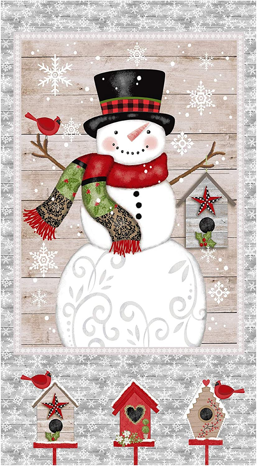 Snow Place Like Home Snowman 24in Panel Grey Quilt Fabric