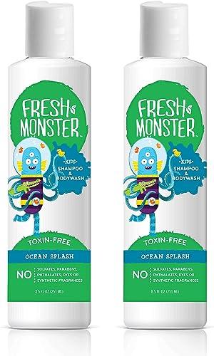 Fresh Monster Kids Shampoo & Body Wash, Ocean Splash  Toxin-Free Hypoallergenic & Natural (2 Pack, 8.5oz/ea)