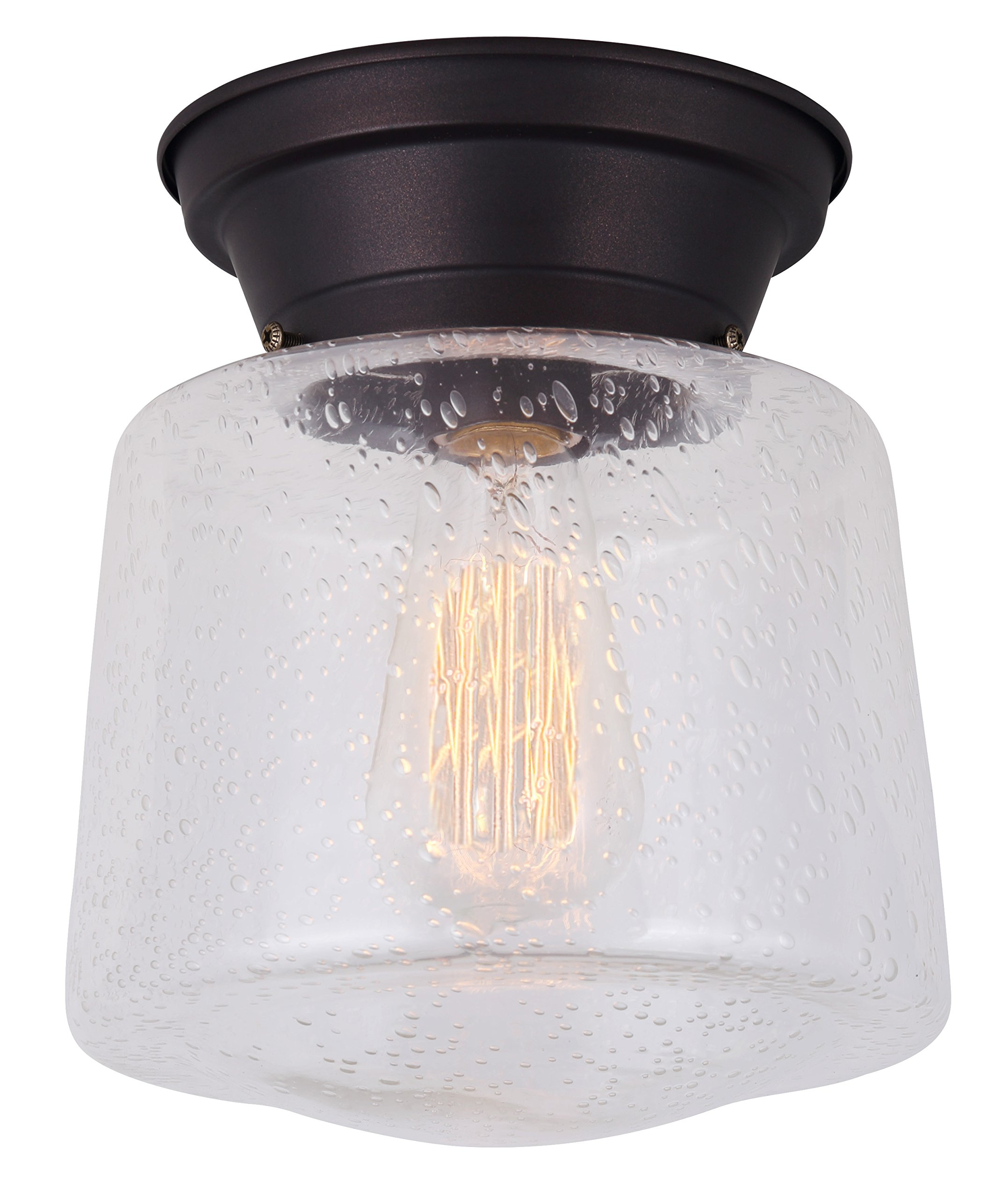 CANARM IFM623A08ORB Ltd Mill 1 Light Flush Mount Seeded Glass, Oil Rubbed Bronze