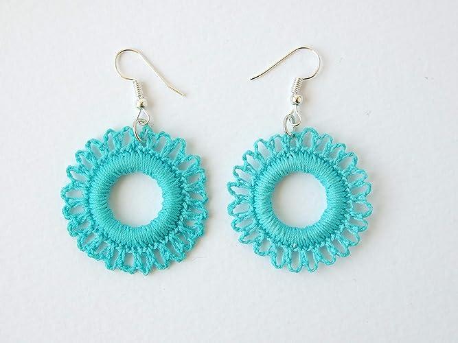 Pale Blue Round Flower Earrings, Crocheted Cotton, 36mm Diameter ...