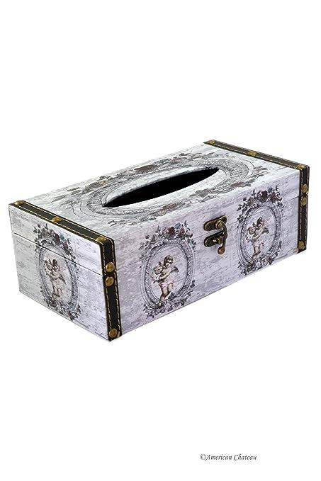 Ángel querubines dispensador de caja cubierta de lona de madera Kleenex tejido tapa