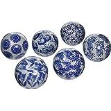 "Oriental Furniture 4"" Blue & White Decorative Porcelain Ball Set(B)"