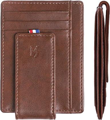 Mens Slim Genuine Leather Front Pocket Wallet Money Clip Bifold Brown Coffee
