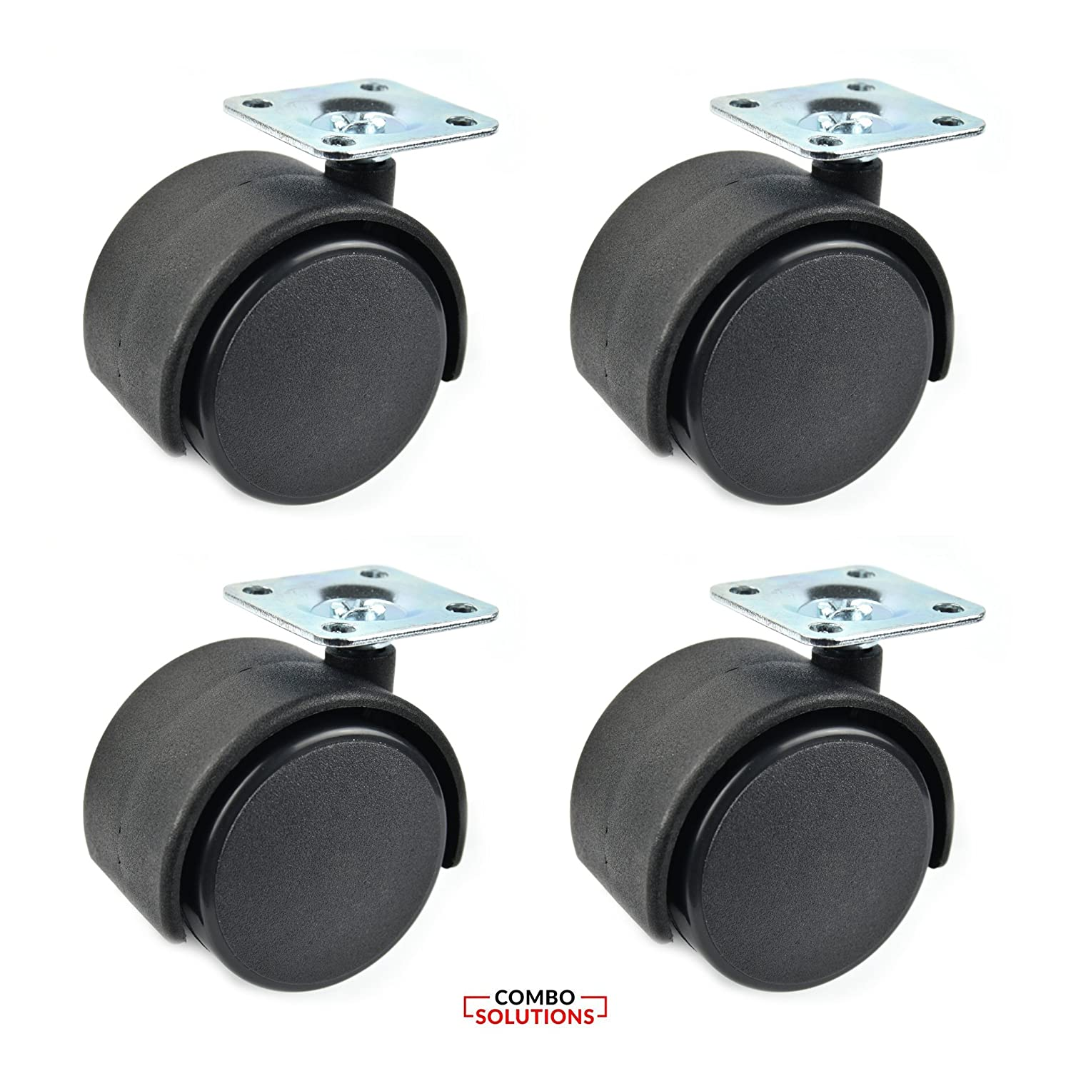 2 Inches Black Nylon Twin Wheel Swivel Plate Caster with 20 Screw - Set of 4