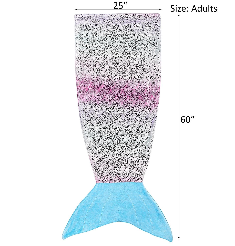 Kids Mermaid Tail Blanket,Plush Soft Flannel Fleece All Seasons Sleeping Blanket Bag,Rainbow Ombre Glittering Fish Scale Design Snuggle Blanket,Best Gifts for Girls,17/×39 17/×39 softan