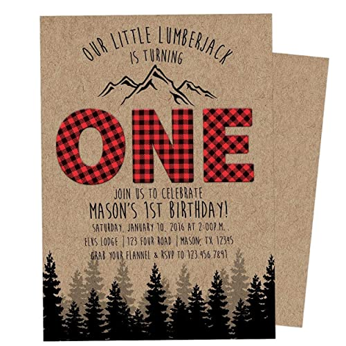 Image Unavailable Not Available For Color Kraft Lumberjack 1st Birthday Invitation Boy