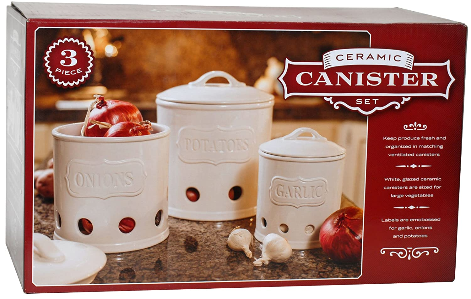amazon com ceramic canister set of 3 for potatoes onions and