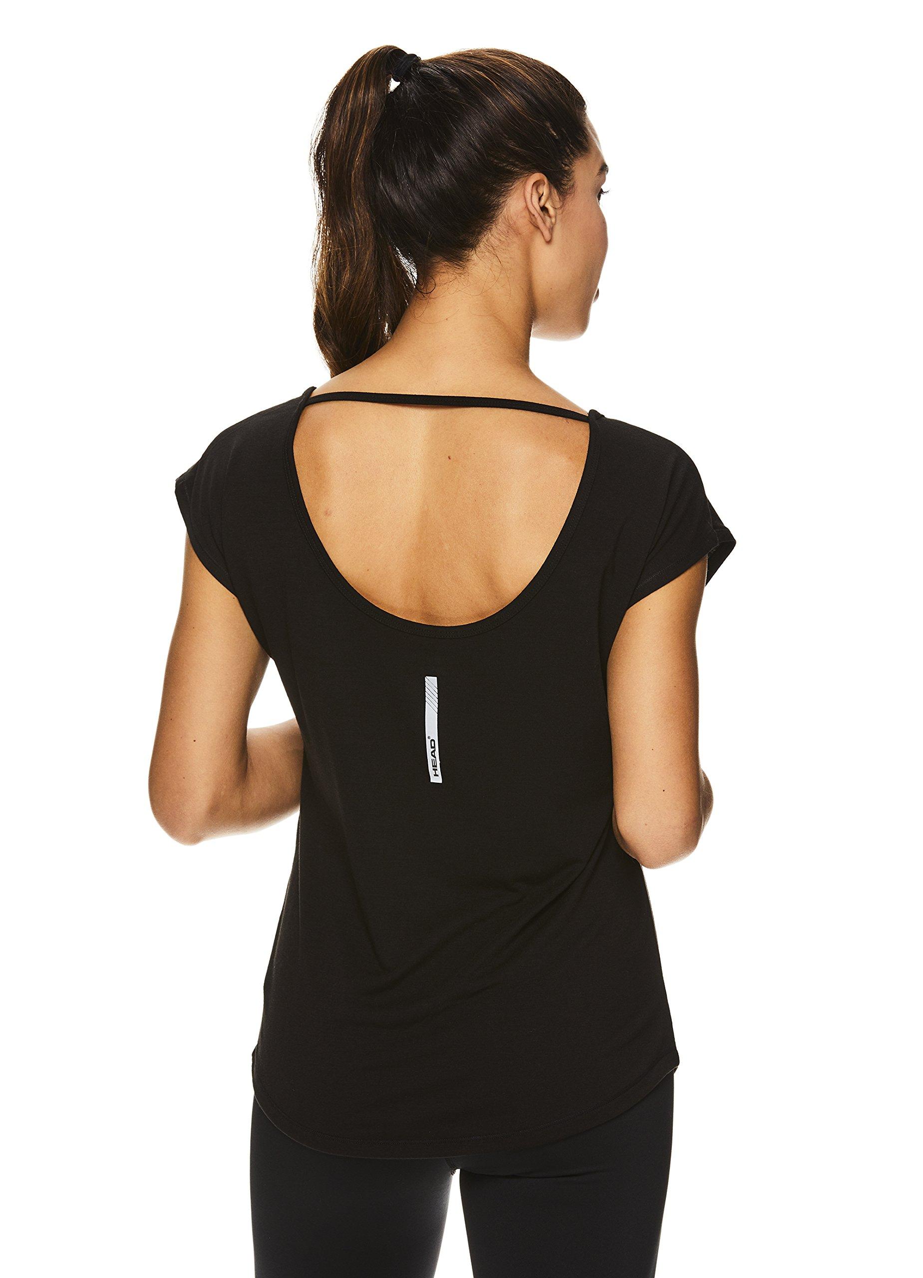HEAD Women's Open Back Short Sleeve Workout T Shirt - Performance Scoop Neck Activewear Top - Black Power, Large