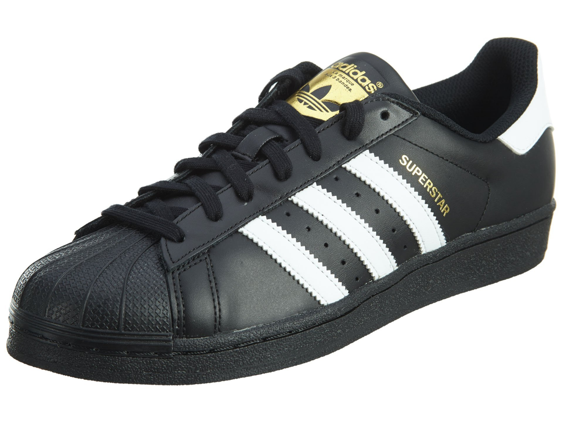 adidas Originals Men's Superstar Foundation Casual Sneaker, Black/White/Black, 4 D(M) US