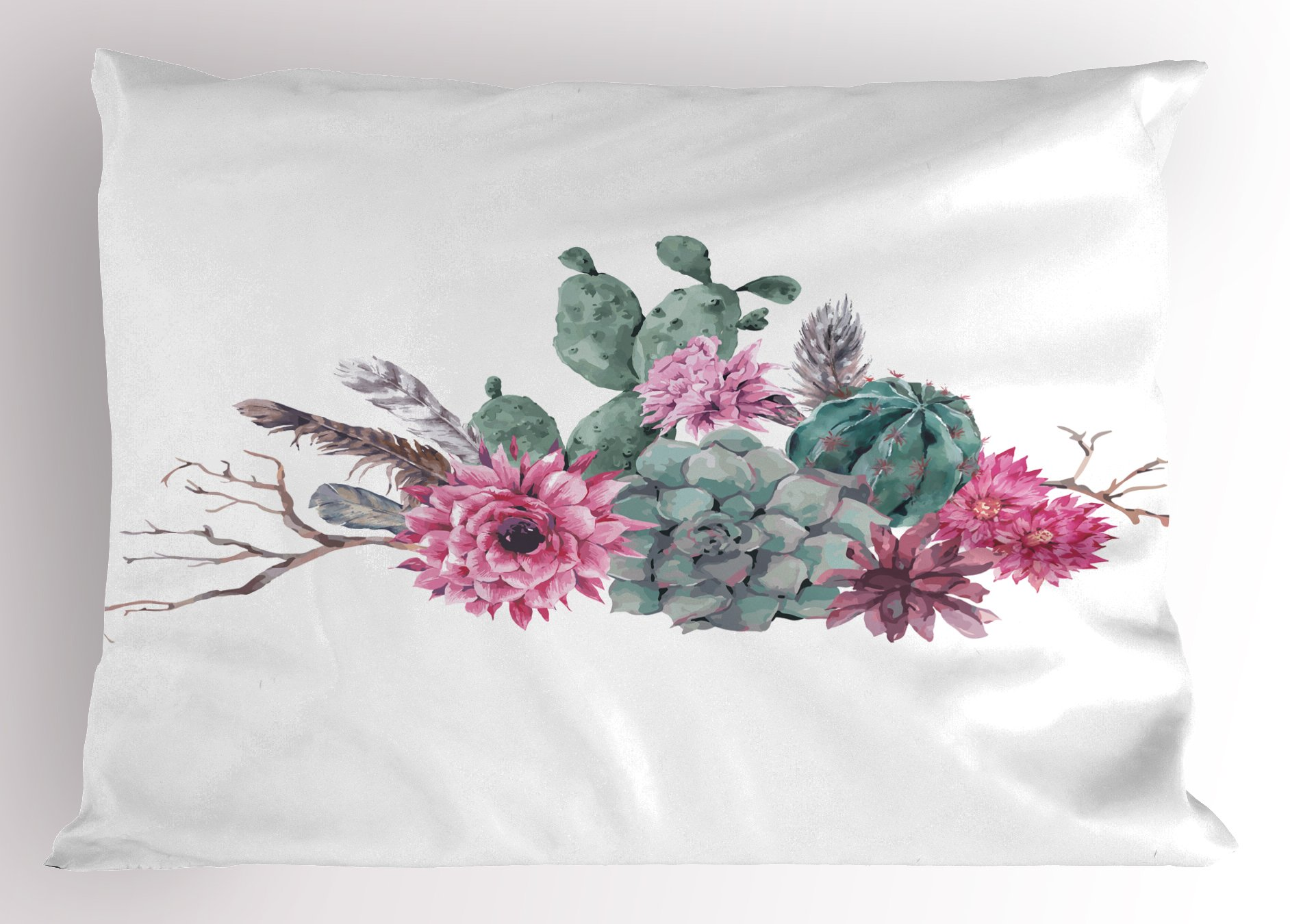 Ambesonne Succulent Pillow Sham by, Feathers Flowers Cacti Ethnic Hipster Elements Vintage Fashion, Decorative Standard King Size Printed Pillowcase, 36 X 20 Inches, Sage Green Light Pink Mauve