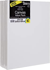 Darice Studio 71, 6 Piece, 12 by 16 inch, Stretched Canvas Value Pack, Pack of 6, White