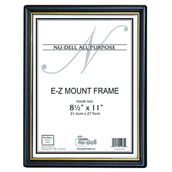 nudell 85 x 11 ez mount economy document frame plastic face black with