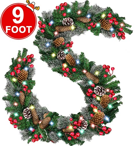 9 Foot By 10 Inch Christmas Garland With 50 Color Led Lights Christmas Decoration With 18 Pine Cones 75 Berries 220 Branch Battery Operated Xmas