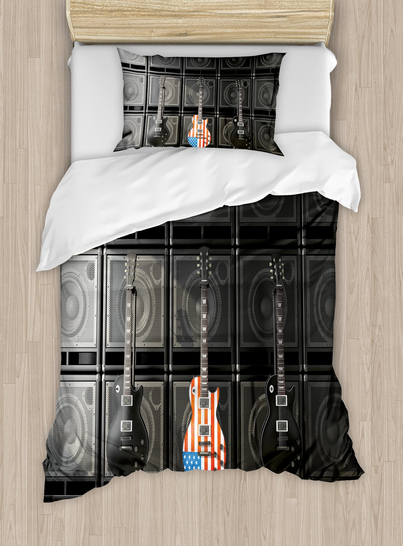 Ambesonne American Flag Duvet Cover Set Twin Size, Black and Us Bass Guitar Electronic Rock Music Theme Digital Graphic Work, Decorative 2 Piece Bedding Set with 1 Pillow Sham, Multicolor