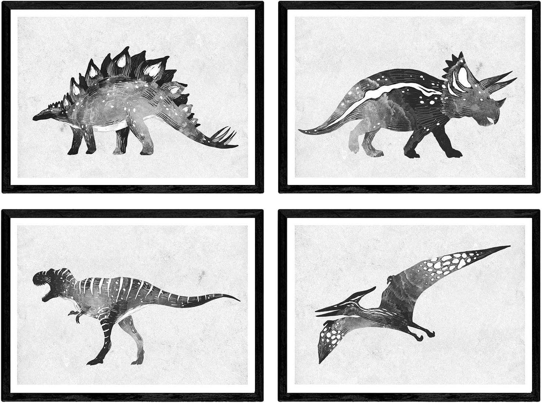 Nacnic Pack de Posters de Dinosaurios Acuarela Negro. Láminas de Dinosaurios para niños. Tamaño A4