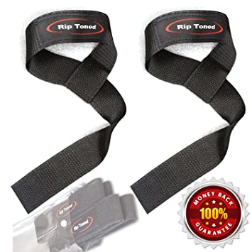 Lifting Straps By Rip Toned (PAIR) - Normal or Small Wrists - Bonus Ebook