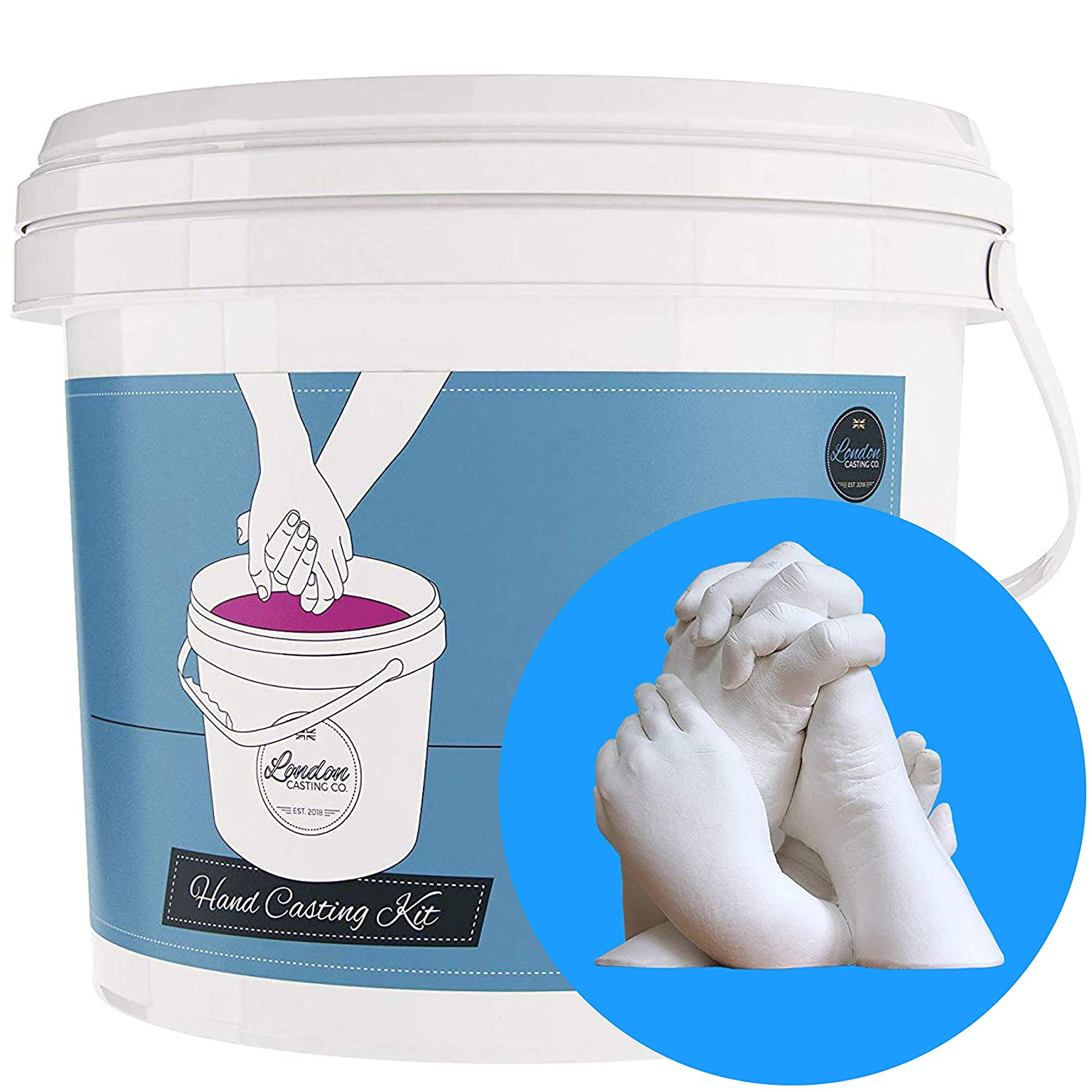 !!!Flash Sale!!! Couples 3D Casting kit - Holding Hands Sculpture -White Rubber Mould & Plaster of Paris - Keepsake Gift for Couples, Friends, Families - London Casting Co. - Regular (2 Adult Hands) LA BRANDS LTD