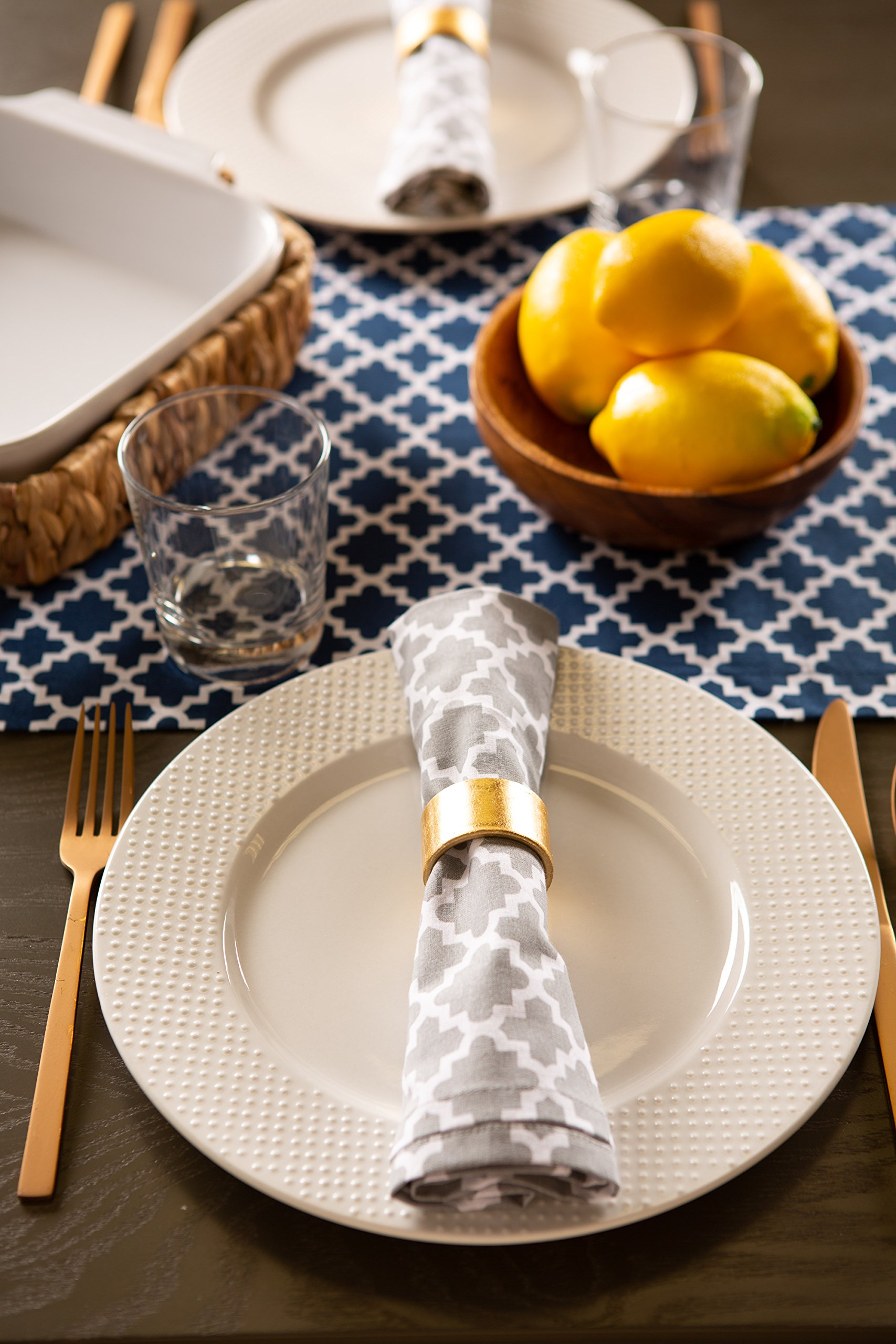 DII Lattice Cotton Table Runner for Dining Room, Foyer Table, Summer Parties and Everyday Use - 14x108'', Nautical Blue and White by DII (Image #5)