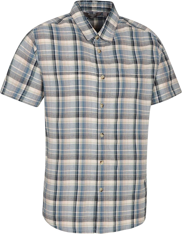 Camping /& Travel 100/% Cotton Summer Shirt for Walking Breathable Lightweight Casual Shirt Mountain Warehouse Weekender Short Sleeved Mens Shirt Comfortable Top
