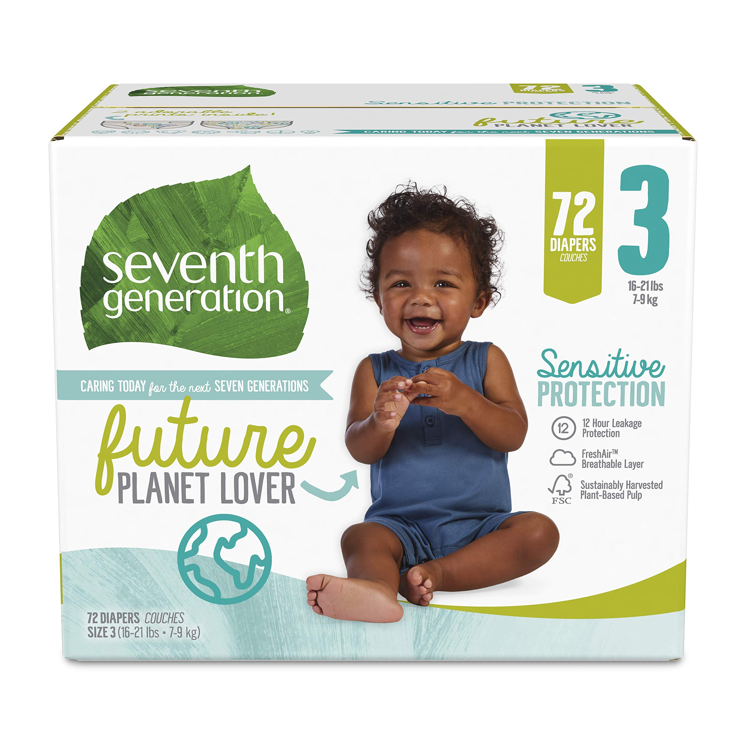Seventh Generation Baby Diapers, Size 3, 72 Count, Super Pack, for Sensitive Skin