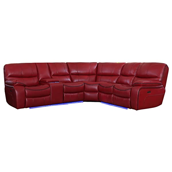 """Homelegance Pecos 105"""" Power Reclining Sectional with LED, Red"""