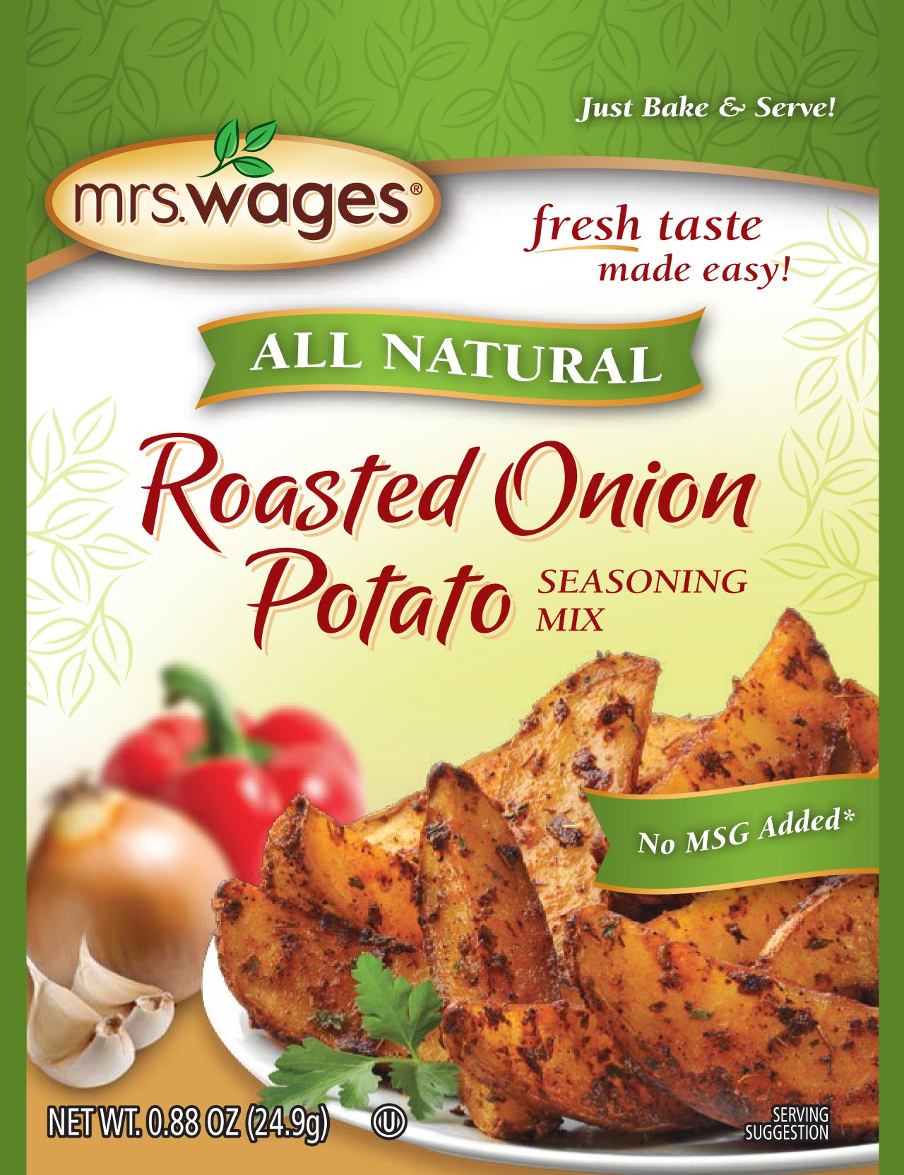 Mrs. Wages All Natural Roasted Seasoning Mix, Onion Potato, 0.88 Ounce (Pack of 12)