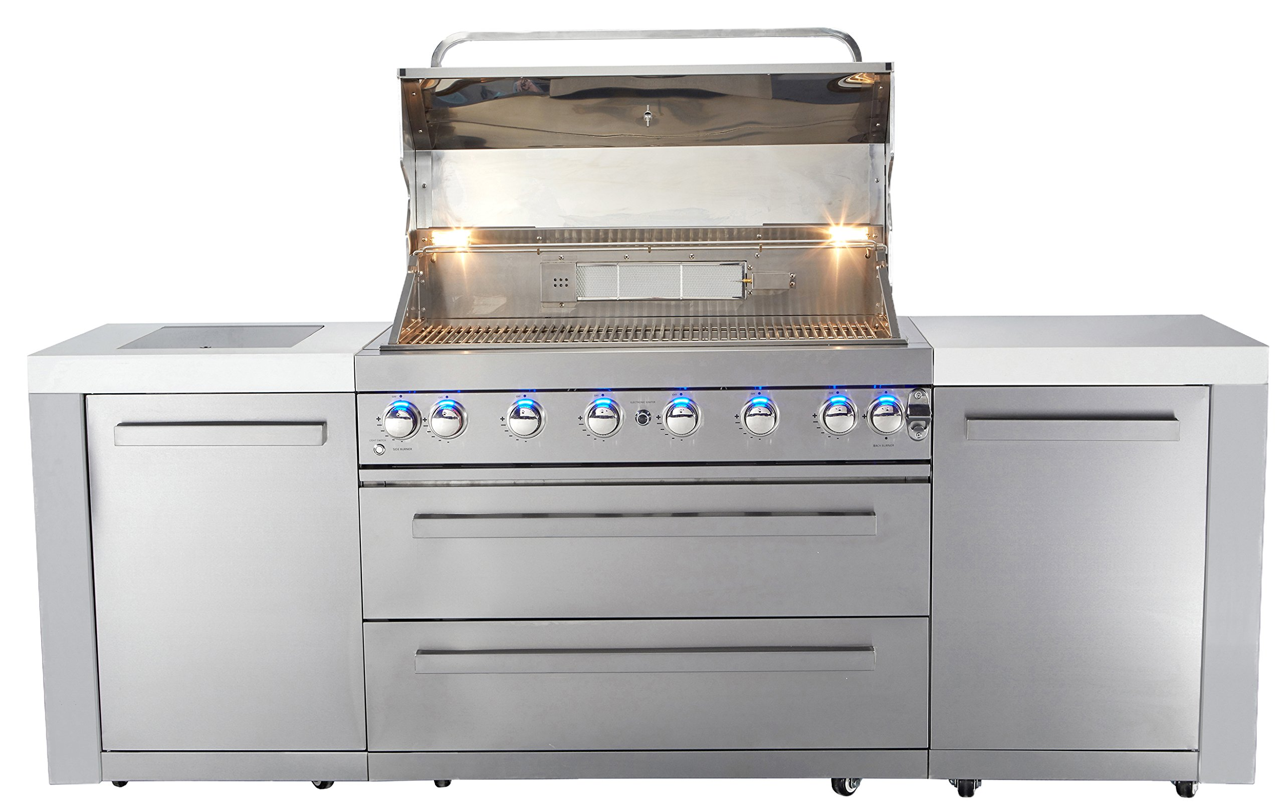 Mont Alpi MAI805 44'' Outdoor Barbeque Island, 47.00 x 20.00 x 93.00 inches, Stainless Steel by Mont Alpi (Image #3)